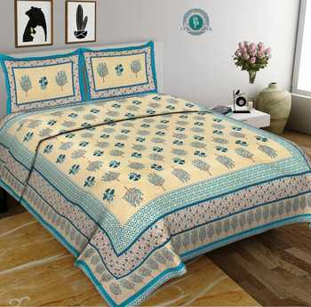 High Quality Famous Brand Printed 100% Cotton Bedsheets 3pcs Bedding Set Sanganeri Print Bed Sheet Cotton