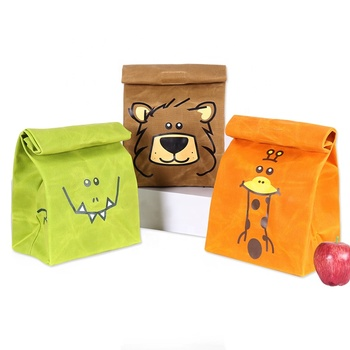 CHANGRONG Custom School Children Animal Cartoon Eco Friendly Resuabl Organic Canvas Cotton Kids Lunch Bag