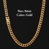 8mm Gold Fold Clasp Cuban Chain
