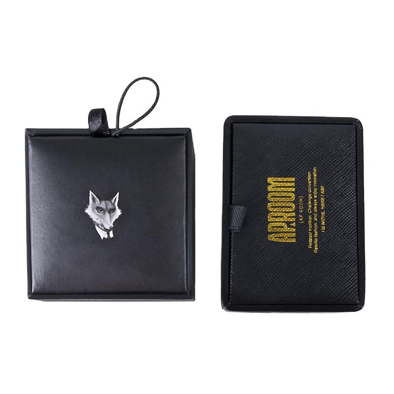 Custom Logo Luxury Leather Decoration Man Tie Cufflinks Packaging Box