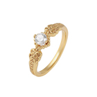 16477 Xuping 24k yellow gold elegant cubic zirconia solitaire engagement ring