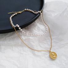 Новое корейское геометрическое Двухслойное жемчужное женское ожерелье на цепочке, вечерние украшения для девочек, простые ювелирные украш...(Китай)