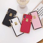 square shaped pu leather for iphone case back cover,for samsung leather square phone case