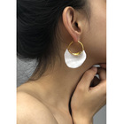 2020 Irregular Metal Basket Large Hoop Earrings For Women Big White Enamel Statement Huggie Nickel Earrings Hoop