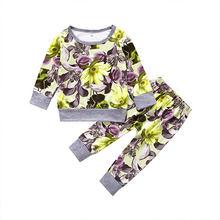 Летняя одежда для девочек с цветочным принтом, хлопковая футболка с длинным рукавом + штаны, комплект детской одежды(Китай)