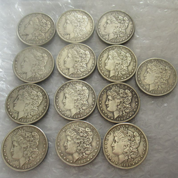 13PCS (1878-1893) CC American Morgan Dollar Silver Plated Replica Decorative Commemorative Coins