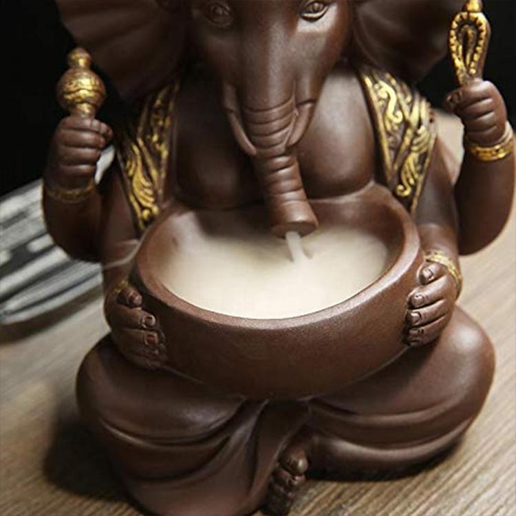 Home Decor Hindu God Ganesh Incense Holder Backflow, Ganesha Porcelain Ceramic Incense Burner`