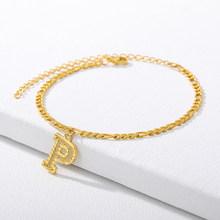 A-Z письмо Сандалеты с перепонкой на лодыжке для женщин; Изящные Модные первоначальный английский золотого цвета из нержавеющей стали, ножно...(Китай)