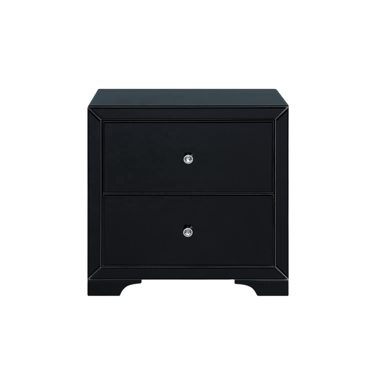 Modern Black Mirrored Nightstand Bedside Table With 2 Drawers Buy Roma Glass Storage Simple New Design Night Stand Cabinet Bedroom Smoke Grey Lamp