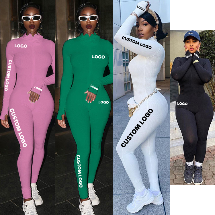 Free Shipping explosion models long sleeve turtleneck Pit Stripe long jumpsuit women's good quality with embroidery logo