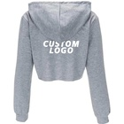 Cotton Long Sleeve Hoodie Hoodie Hoodie Wholesale Cotton Ladies Blank GYM Long Sleeve Tracksuit Crop Tops Women's Jogger Sweatshirt Custom LOGO Cropped Hoodie For Women