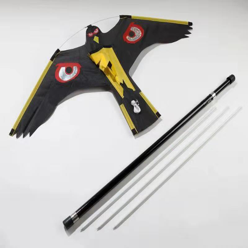 hawk bird scarer kite with 4m telescopic pole and stake