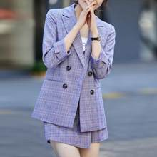 Женский винтажный костюм, элегантный клетчатый пиджак и мини-юбка, комплект из 2 предметов, Повседневная Деловая форма для работы и офиса(Китай)