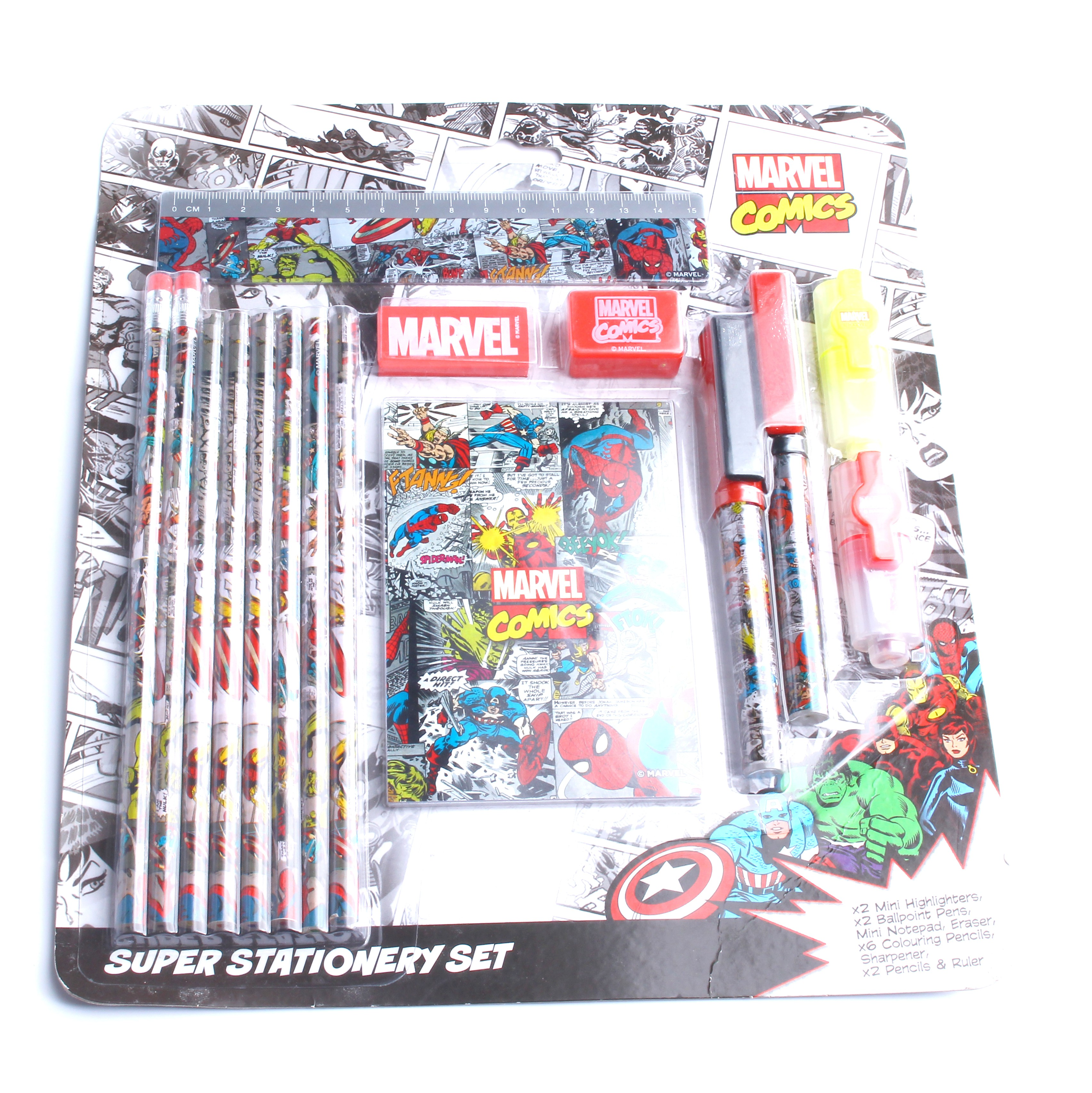 Yifan, Китай, оптовая продажа, недорогая ученическая супермаленькая Канцелярия Marvel, подарочный набор с шариковой ручкой, линейкой, карандашом, ластиком
