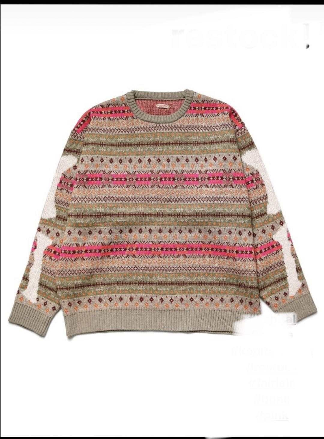 Customized European and American niche design round neck geometric jacquard 7GG knitted sweater