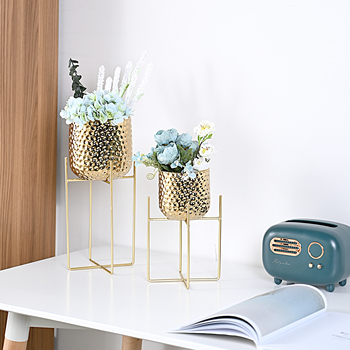 Gold Color Ceramic Round Indoor Decorative Pots Planters With Metal Stand Irregular Dots Design Planter Flower