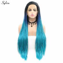Сильвия плетеные парики ручной работы, синтетические кружевные передние парики, черные корни в темно-синий свет, термостойкие парики для же...(Китай)