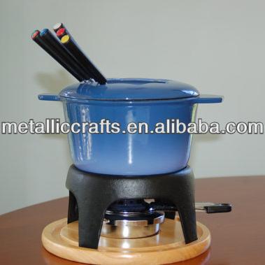 Enamel Cast Iron Cheese Chocolate Meat Fondue Set Buy Cheese Fondue Fondue Set Fondue Pot Product On Alibaba Com