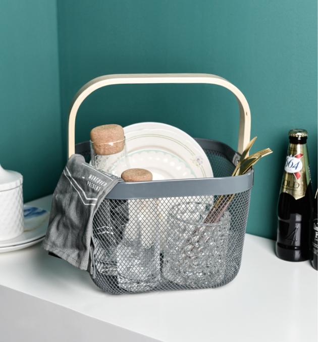Кухонная игрушка для ванной, органайзер для фруктов и цветов, металлическая сетчатая корзина для хранения с деревянной ручкой