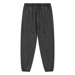 100% Cotton Vintage Heavy Weight Washed French Terry Sweat Tracksuit Pants Winter Plain Casual Plus Size Men's Pants