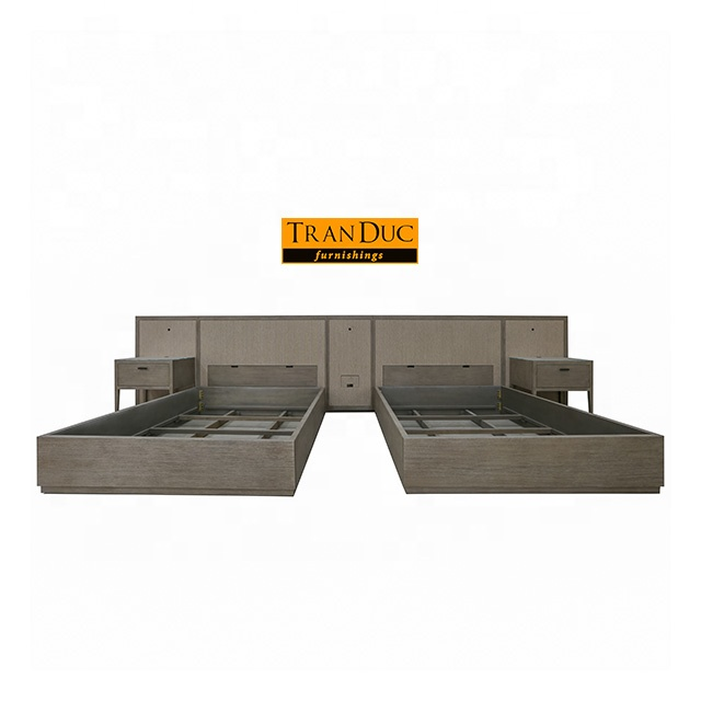 Double Queen Beds in luxury hotel furniture set from hospitality furniture manufacturer in Vietnam