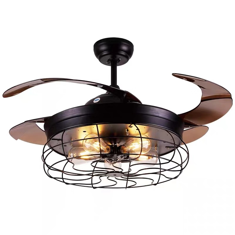 Loft Industrial Style Invisible Ceiling Fan Lamp Abs Blade E27 Lamp Bulbs Ceiling Fan For Coffee Shop Buy Ceiling Fan Hidden Blades Ceiling Fans With Led Lights Ceiling Fan With Light Product On