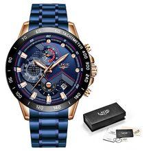 LIGE мужские часы, мужские часы, лучший бренд, Роскошные наручные часы, кварцевые часы, синие часы, мужские водонепроницаемые часы, хронограф(China)