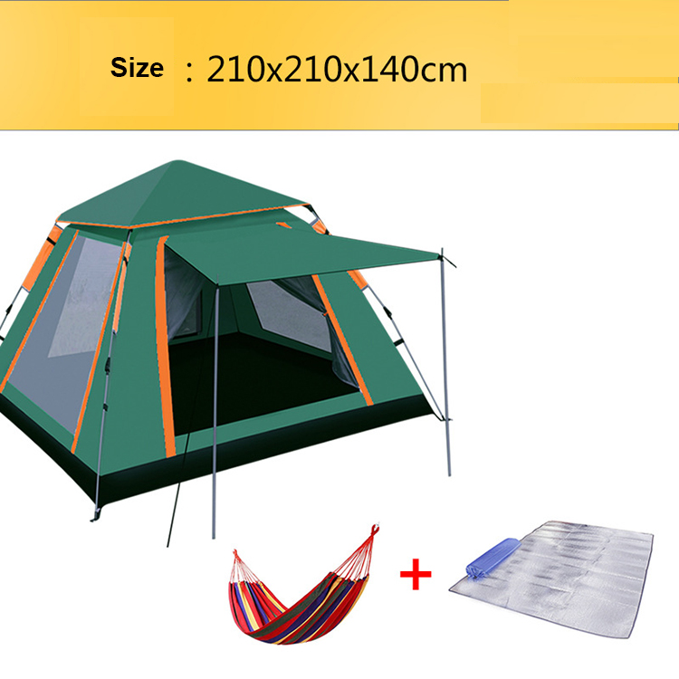 YJN5640 Outdoor 3-4 People Quartet Single-layer Tent Oxford Cloth Family Picnic Camping Tent