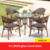 4 Teslin double leg chair 1 glass round table D80cm