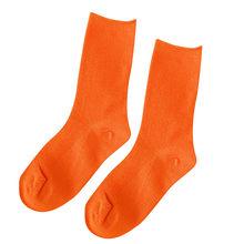 Карамельные однотонные женские носки Harajuku, Осенние хлопковые носки, зимние корейские фиолетовые, синие, желтые, розовые дизайнерские рожде...(Китай)