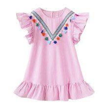 Лидер продаж 2020, новое летнее платье, милая одежда для маленьких девочек на день рождения, вечерние платья в синюю полоску с открытыми плеча...(Китай)