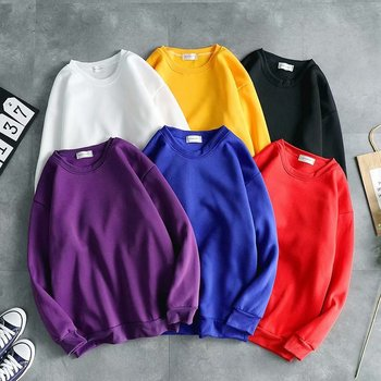 Thick Gym Sweatshirt 5xxl Fashion Solid Color Custom Plus Size 100%polyester Crewneck Unisex Pullover 100% Polyester Breathable