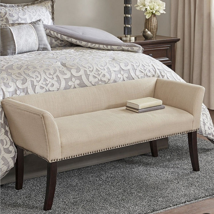 fabric covered new style upholstered bedroom flat bench living room antique rice yellow bedroom bench