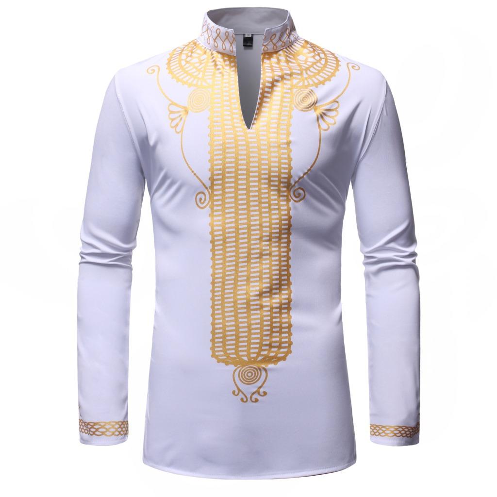 MXCHAN SJH11010 модная позолоченная африканская мужская одежда с длинным рукавом мужские африканские рубашки Дашики рубашка для мужчин