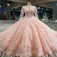 Оптовая продажа размера плюс розовое свадебное платье 2020 кружевные цветы Часовня Свадебные платья Великолепная страна Vestido De Noiva Robe De Mariee(China)