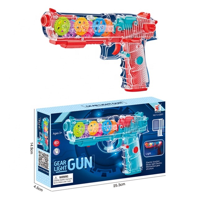 RTS Novelty Electric Toy Flashing Light B/O Transparent Toy Gun Concept Gun Toys With Music
