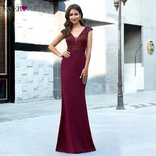 Длинные Бордовые вечерние платья EP00788BD, с глубоким v-образным вырезом, без рукавов, с блестками, Сексуальные вечерние платья русалки(Китай)