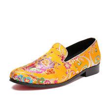Мужские Винтажные Свадебные модельные туфли с вышивкой; Новинка 2020 года; Лоферы без застежки; Народные вечерние туфли из натуральной кожи; ...(Китай)