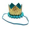 Blue crown wool ball cap