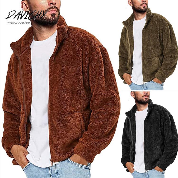 Custom Sherpa Fleece Jacket Mens Blank Full Zip Fashion Solid Color Sherpa Trendy Jacket
