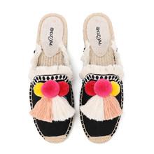 Женские меховые тапочки Tienda soldos, весенне-летние парусиновые туфли-мюли с кисточками и пушистыми шариками, эспадрильи(Китай)
