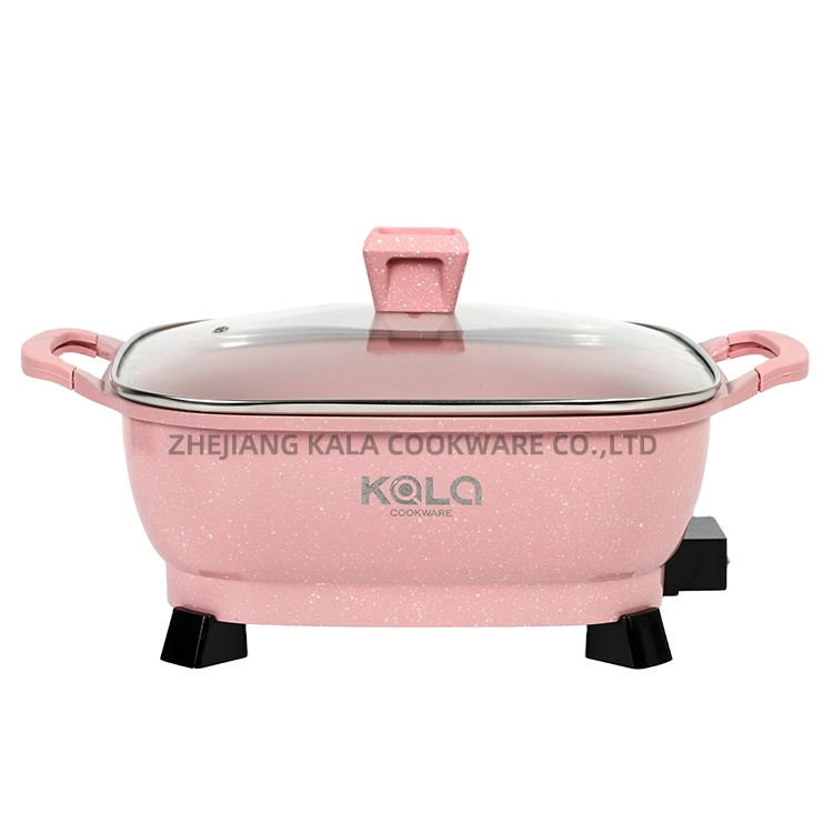 High quality 30cm electric pot ghana best selling multi cook bbq  hot pot marble frying pan Soup & Stock Pans manufacturer