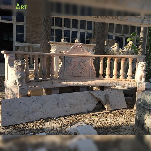 Natural hand carved park decor marble bench