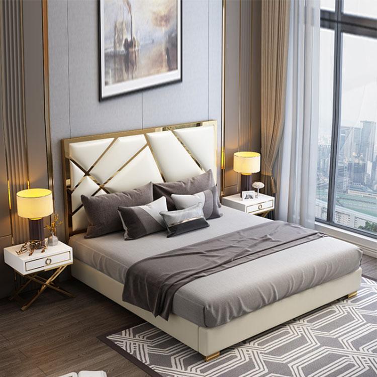 Hong kong-style light luxury leather  master bedroom post-modern bedroom furniture