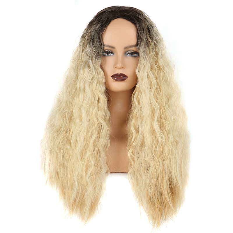 Bangs wig lady chemical fiber hair high temperature silk corn long curly hair European and American new style