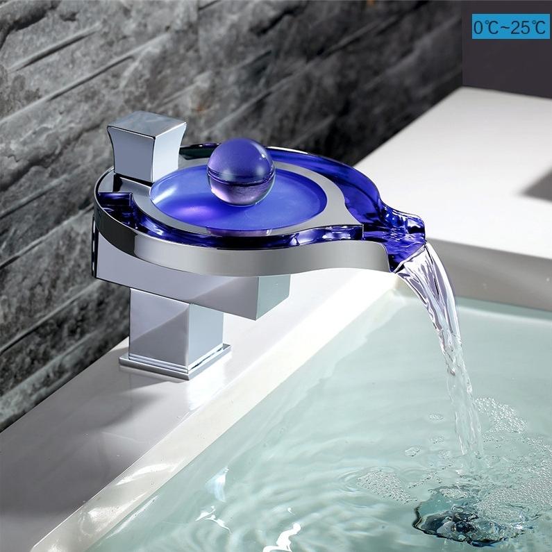 G017LED 3 вида цветов светодиодный смеситель для воды меняющий цвет 2020 популярный водопад латунный Смеситель для раковины