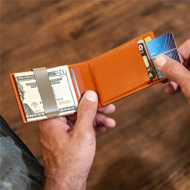 Travel Genuine Leather Man Rfid Men's Leather Wallet Slim Custom Leather Money Clip Unisex  Money Clip