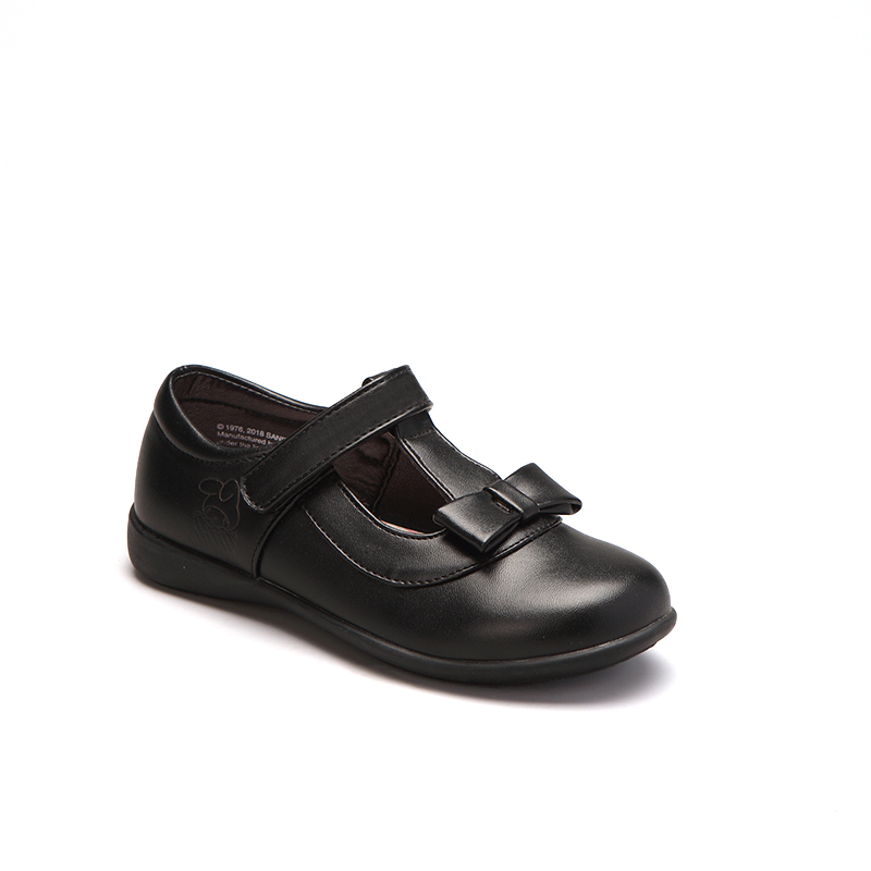 Новинка 2021, черная прочная детская повседневная школьная обувь для девочек с бантом, дизайн T-Bar, распродажа