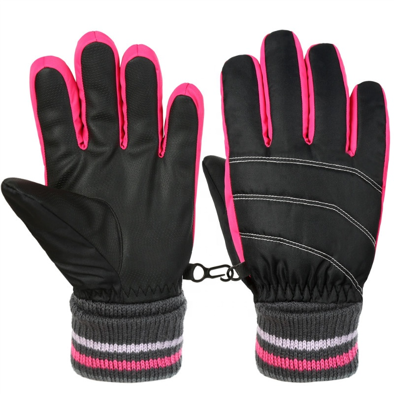Kids Cold Weather Thermal Wear Resistant Insulation Anti Slip PU Fleece Windproof Skating Sports Winter Ski Gloves
