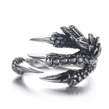 Fancy Stainless Steel Biker Jewelry Punk Vintage Class Dragon Claw Ring